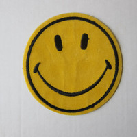 70s Groovy Authentic Large Retro Embroidered Hippie Patch -- CLASSIC SMILEY FACE!
