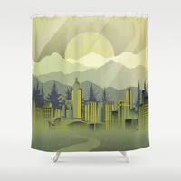 Skyscrapers Shower Curtain by Berwies