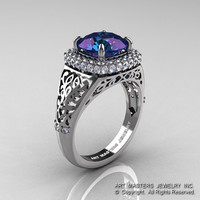 High Fashion 14K White Gold 3.0 Ct Color Change Alexandrite Diamond Designer Wedding Ring R407-14KWGDAL