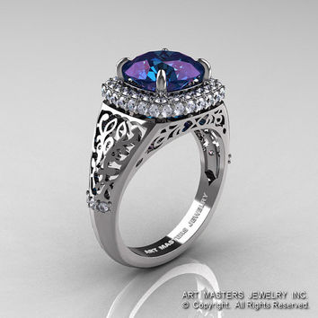 high fashion 14k white gold 30 ct color change alexandrite diamond designer wedding ring r407 - Alexandrite Wedding Ring