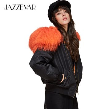 New winter high fashion street woman hooded bomber jacket sheep fur collar short basic jacket quilted outwear