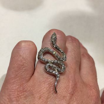 Vintage 1970's Sterling Silver gold Crystal Snake Ring