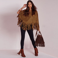 Brown Fringed Suede Cape Coat