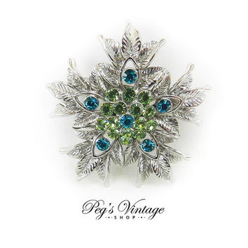 Vintage Silver Tone Leaf Rhinestone Brooch/Pin, Green & Blue Rhinestone Leaf Flower Pin