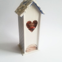 Unusual snowy cottage christmas tea box house shaped best gift idea tea bag dispenser tea box