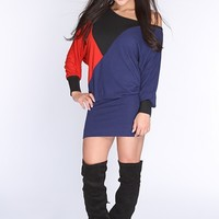 Navy Multi Color Block Sexy Sweater Dress