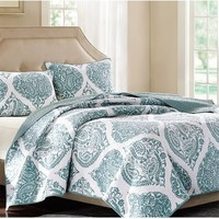Denim Blue Paisley Medallion Cotton Quilt