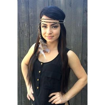 Double Wrapped Feather Headband #B1003