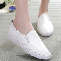 Fashion Leather Women Casual Shoes Summer Flats Comfortable Round Toe Loafers Slip On White Chaussure Femme Size 34-43