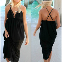 Mykonos Black Cutout V-Neck Maxi Dress
