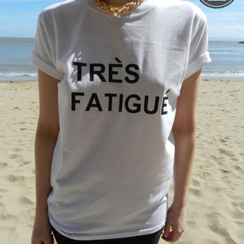 New Tres Fatigue Style Printed T-shirt Top in White - Size S, M and L