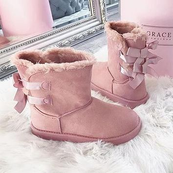 UGG Winter Trending Women Cute Two Bow Leather Snow Boots Pink I/A