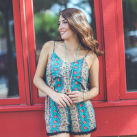 Diamond Print Romper in Green