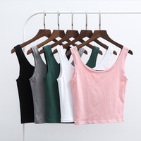 Sexy Women Lady Sleeveless Crop Top Tank Tops Bustier Vest Bralette Slim Belly Dance Tops Bottoming Shirt