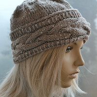 Knitted cap in fur pompom cap / hat lovely warm autumn accessories women clothing Knit Hat Womens lovely