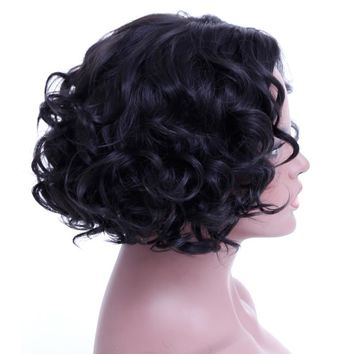 SHANGKE Short Curly Wigs Heat Resistant Synthetic Hair Wigs For African American Natural Fake Hairpieces
