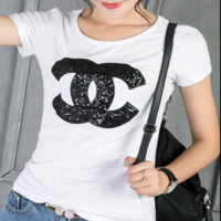 CHANEL Fashion Summer sequins women short sleeve T-shirt top White