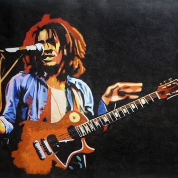 100% Hand-painted Bob Marley oil painting NOT a print poster.Hand painted art,framing avail Reggae