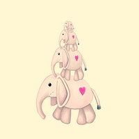 I Heart Elephants Art Print by Veronica Ventress