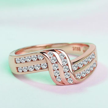Women CZ Geometric Ring & Gift Box