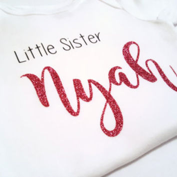 Big Little Brother Sister bodysuit, silver gold pink glitter, personalized, Baby shower cute baby gift, custom bodysuit, baby boy girl