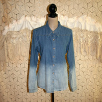 Womens Long Denim Shirt Large Fitted Ombre Long Sleeve Button Up Long Tops Casual Hippie Denim Cotton Blouse Jean Shirt Womens Clothing