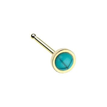 Golden Bezel Set Synthetic Turquoise Stone WildKlass Nose Stud Ring