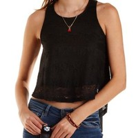 Striped Lace High-Low Tank Top by Charlotte Russe