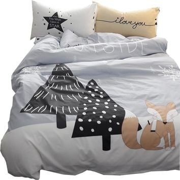 Papa&Mima fox Brief Trees Forest Bedding Set Twin Size Soft Cotton Bedlinens Duvet Cover Set Flat Sheet Pillow Cases Bedding Set
