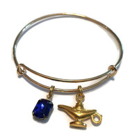 Genie Bottle Charm Bracelet - Gold Genie Bottle and Blue Gem Bangle - Alex and Ani Inspired - Gold Jewelry - Adjustable Bangle - Aladdin