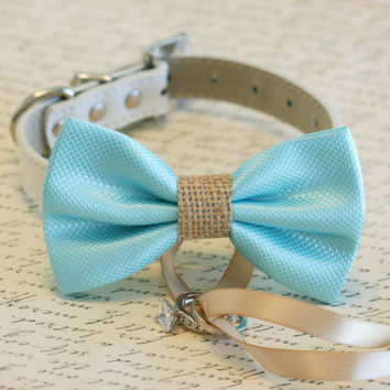 Blue and burlap Dog Bow Tie, Dog ring bearer, Pet Wedding accessory, Burlap Wedding accessory, Rustic wedding idea, Some thing blue