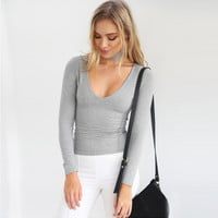 V-Neck Long Sleeve T-Shirt with Neck Choker