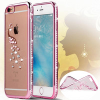 """5S 6S Transparent Rhinestone TPU Silicon Case Coque For iPhone 6 6 S 4.7 inch iPhone6 Plus 5.5"""" Bling Diamond Soft Cover 5 Style"""