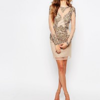 Maya Tall Allover Embellished Flesh Flash Mini Dress