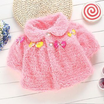 Cotton Blend Cozy Infant Baby Toddler Thicken Cape Cloak Poncho Newborn Girls Winter Coat 0-12 M