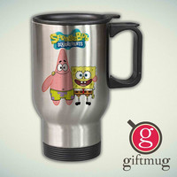 Spongebob Squarepants and Patrick 14oz Stainless Steel Travel Mug