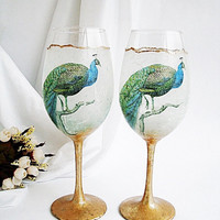 Peacock Wine Glasses, Peacock Wedding Gift, Hand decorated Wine Glasses, Two Glasses of Wine