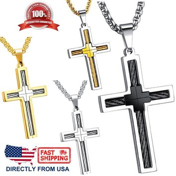 Men's Jewelry Stainless Steel Cable Wire Inlay Cross Pendant Necklace