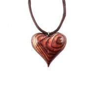Wooden Heart Necklace, Wooden Heart Pendant, Carved Heart Pendant, 5th Wedding Anniversary Gift, Heart Necklace, Heart Pendant, Wood Jewelry