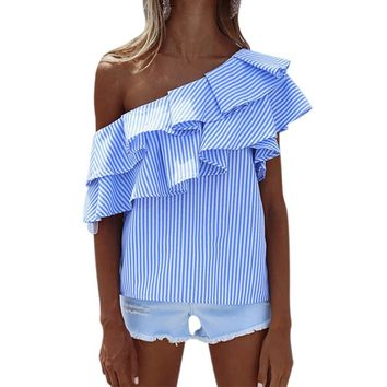 2018 Summer Blouses Women Tops One Shoulder Off Blouses Shirt Ruffle Striped Shirt Slash Neck Blouse cold shoulder tops Blusas