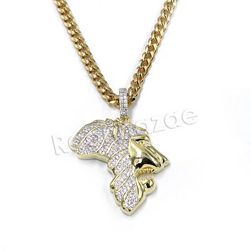 Hiphop Africa Lion Face Brass Pendant W/ 5mm 18-30 inches Cuban Chain