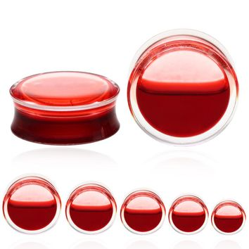 Red Liquid Blood Style Acrylic Clear Double Flared Gauged Ear Plugs 1 Pair Size 8mm - 25mm