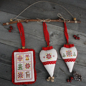 Christmas tree ornament  embroidered hanging scandinavian style lavender sachet decoration Christmas tree decoration green red brown white