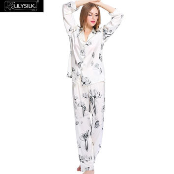 Lilysilk Silk Pijama Women PJS White Lotus Long Sleeve Floral Pajamas Set 19 Momme Indoor Sleeping Wear Winter Couple Skin Care