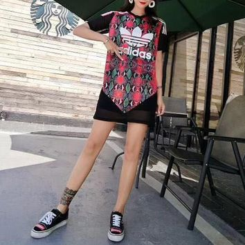 """Adidas"" Women Fashion Retro Multicolor Snake Print Short Sleeve Middle Long Section T-shirt Gauze Mini Dress"