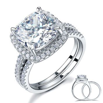 925 Sterling Silver 2 Pcs Wedding Engagement Ring Set 5 Ct Cushion Cut Simulated Diamond