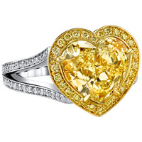Convertible Heart Shaped Fancy Light Yellow GIA Cert Diamond Ring and Necklace