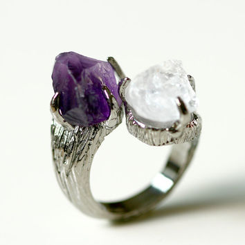 Free Shipping,Amethyst,Moonstone,Stone ring,Ring,Adjustable Ring,Rough Stone Ring,Raw Stone Ring,Raw Crystal Ring,Olive Ring,Leaf ring,