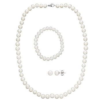 Freshwater by Honora Freshwater Cultured Pearl Necklace, Stretch Bracelet & Stud Earring Set (White)