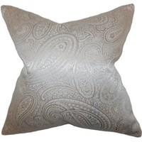 Paisley 18x18 Cotton Pillow, Silver, Decorative Pillows